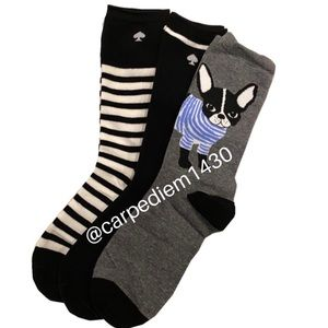 Kate Spade BOXED crew socks 3 pairs